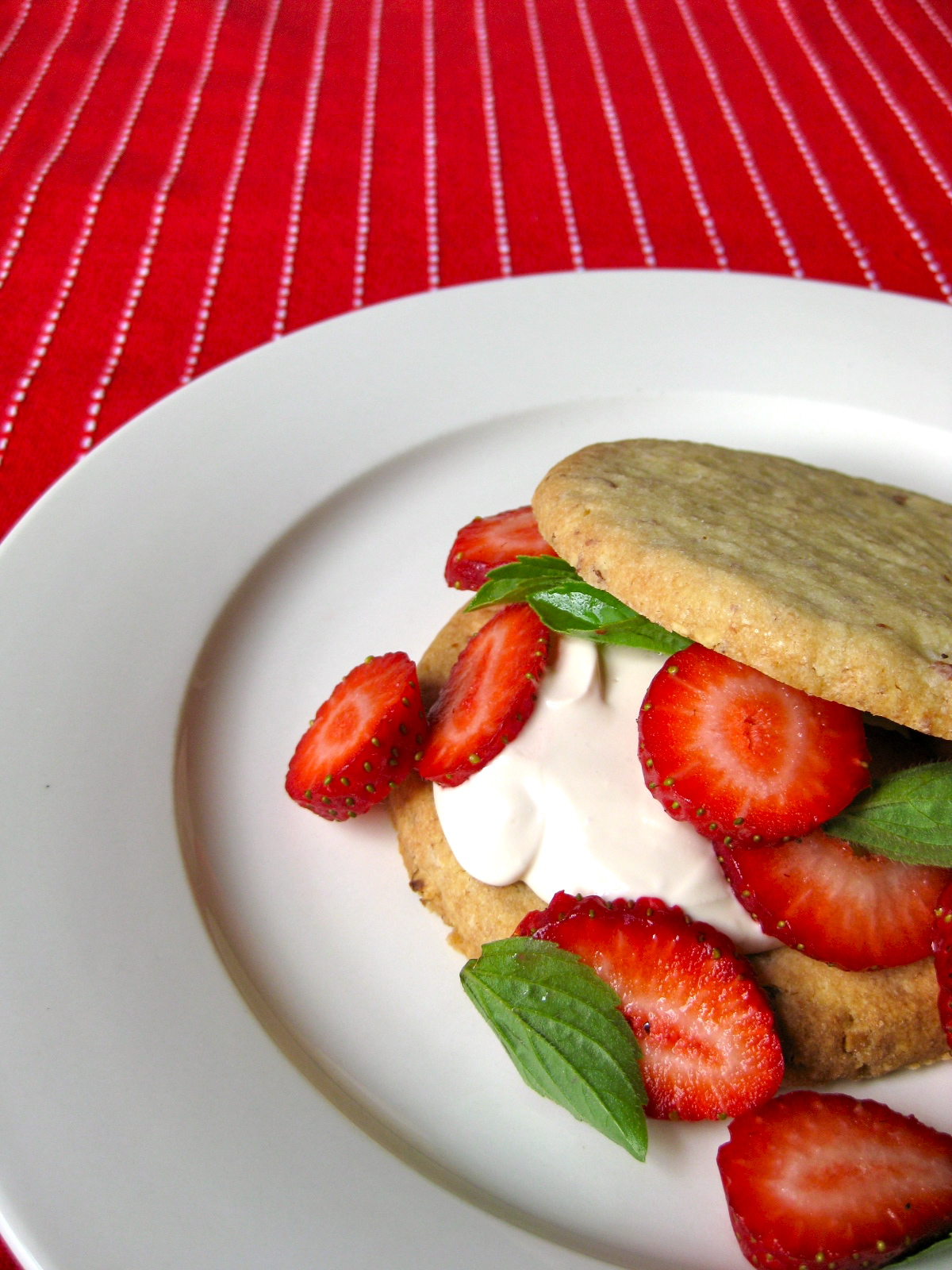 Strawberry Shortcake with baby basil and brown sugar cream